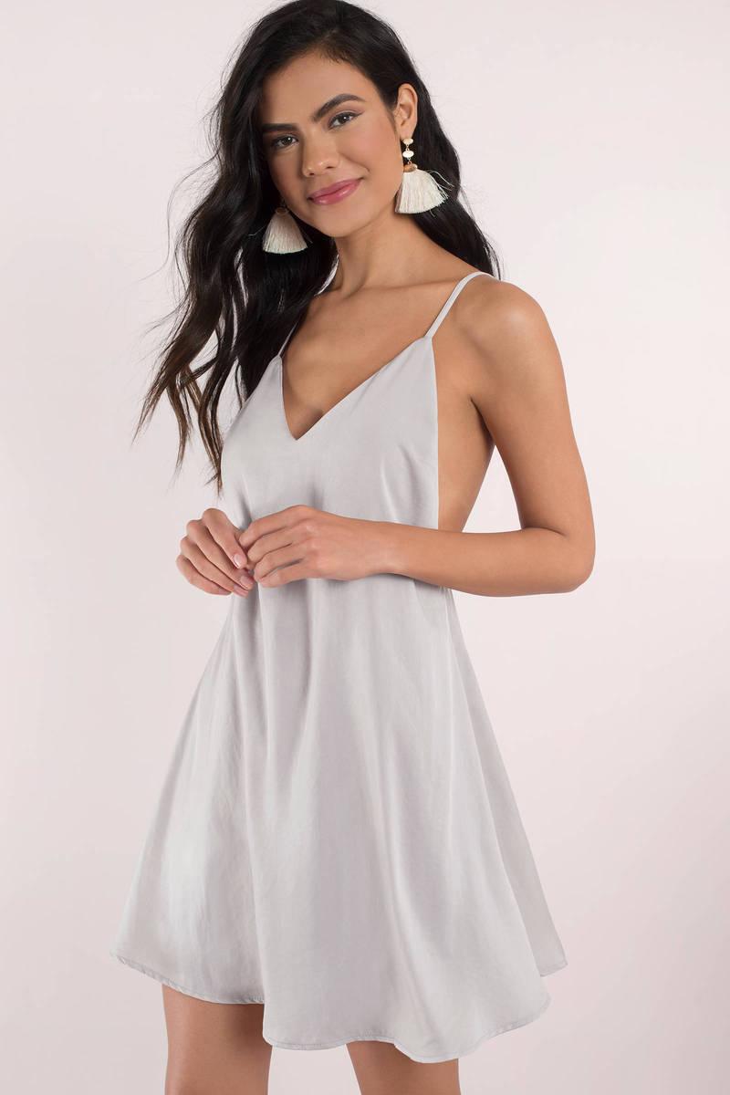 Grey Shift Dress - Strappy Slip Dress - Grey V Neck Dress - $23 ...
