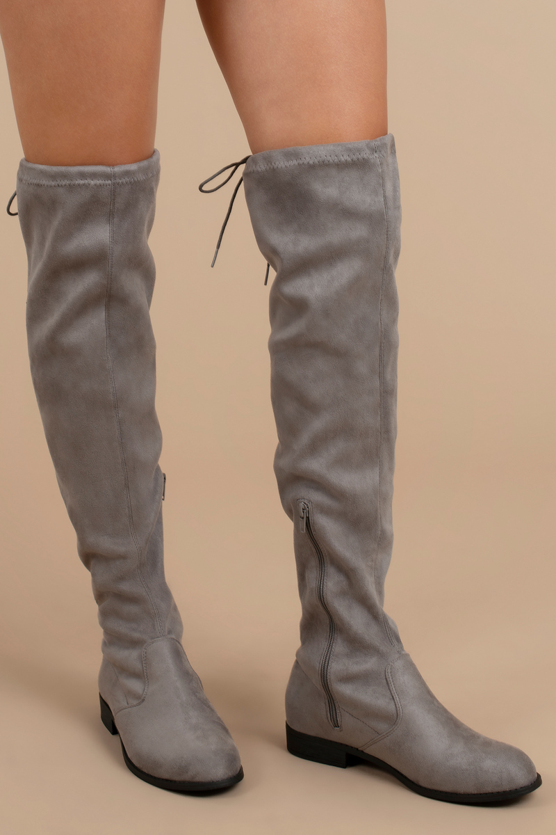 14e0f4a63a42 Grey Boots - Dressy Boots - Grey Faux Suede Knee High Boots -  35 ...