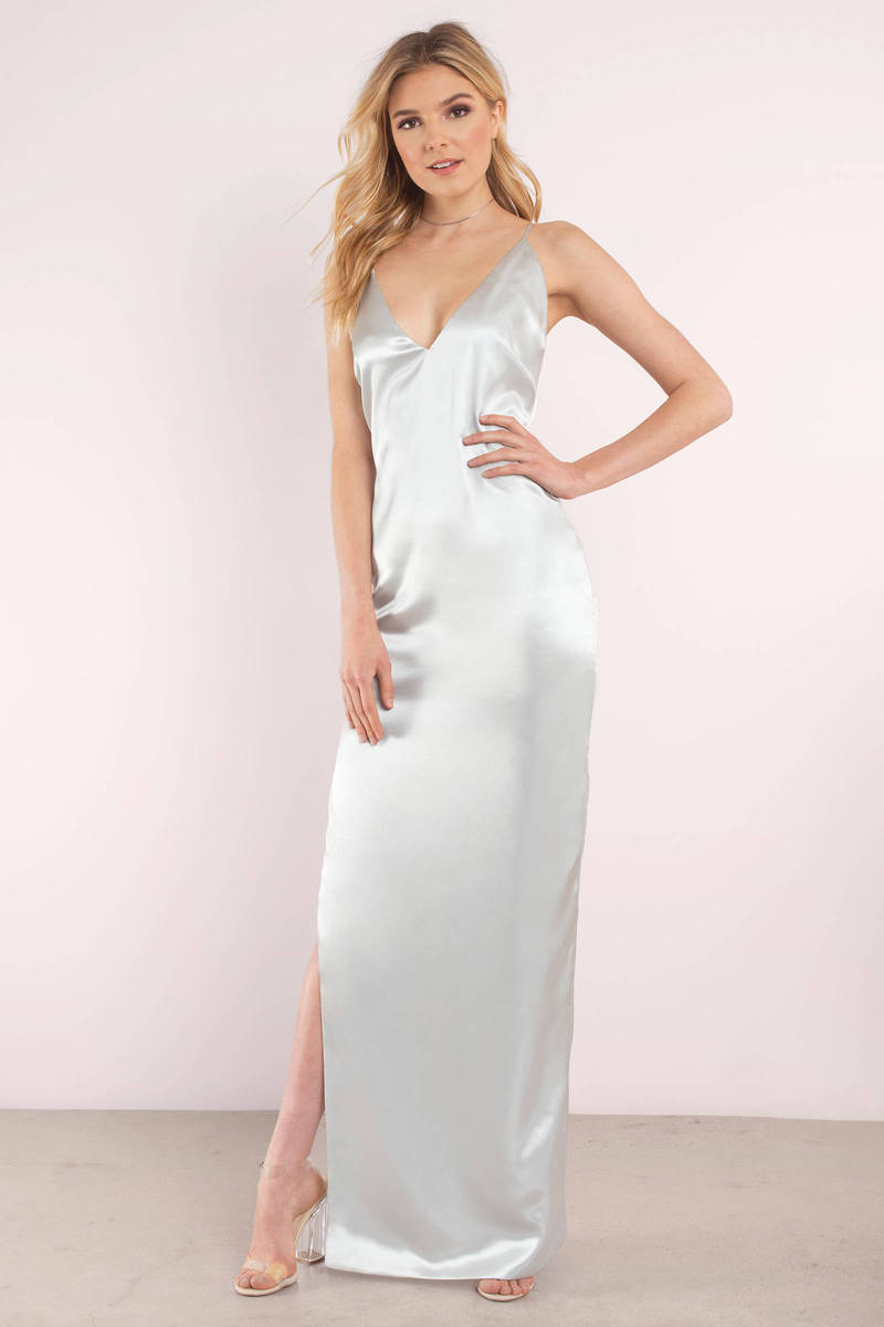 Plunge Neckline Maxi Dress