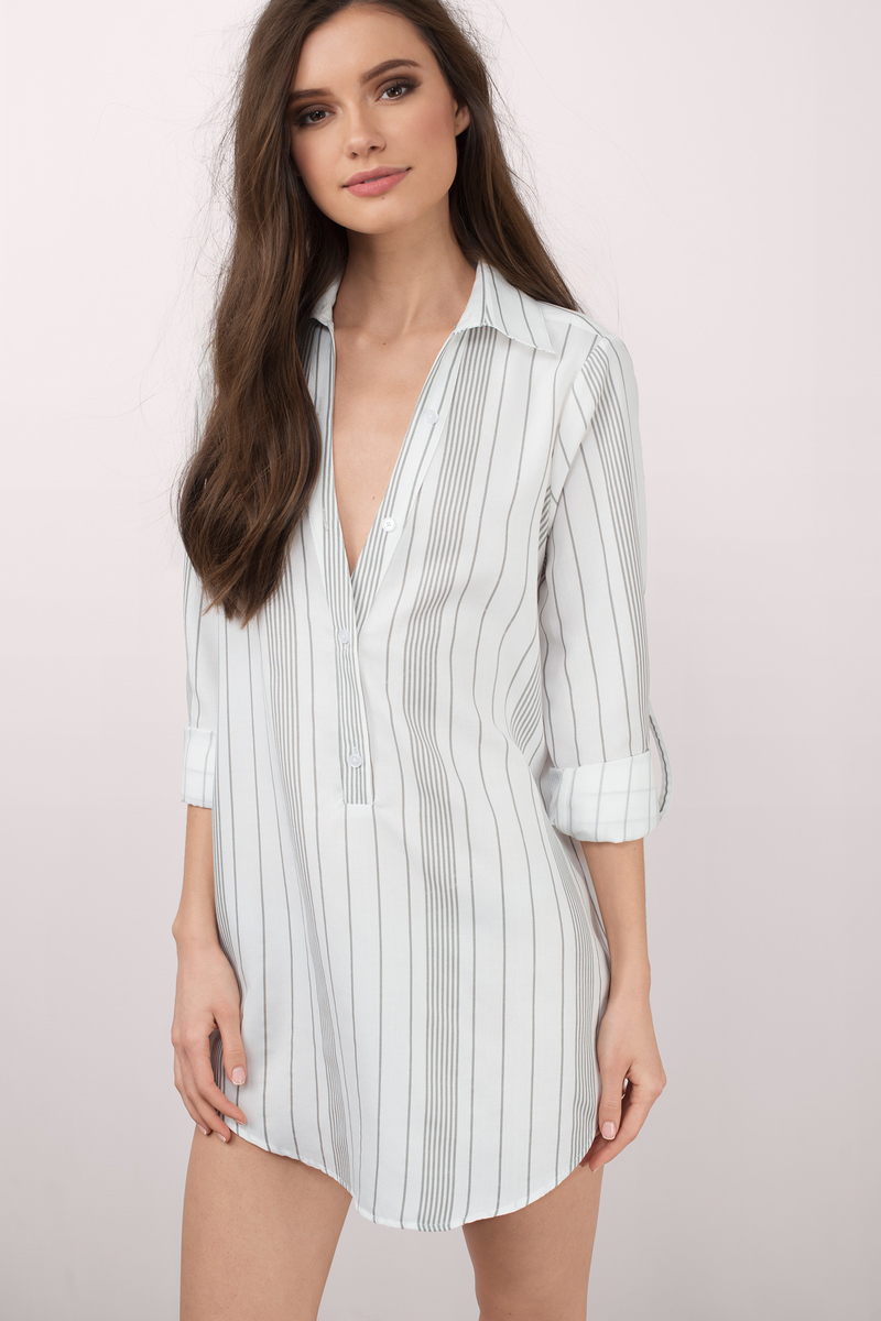 Amari Light Blue Multi Striped Shirt Dress