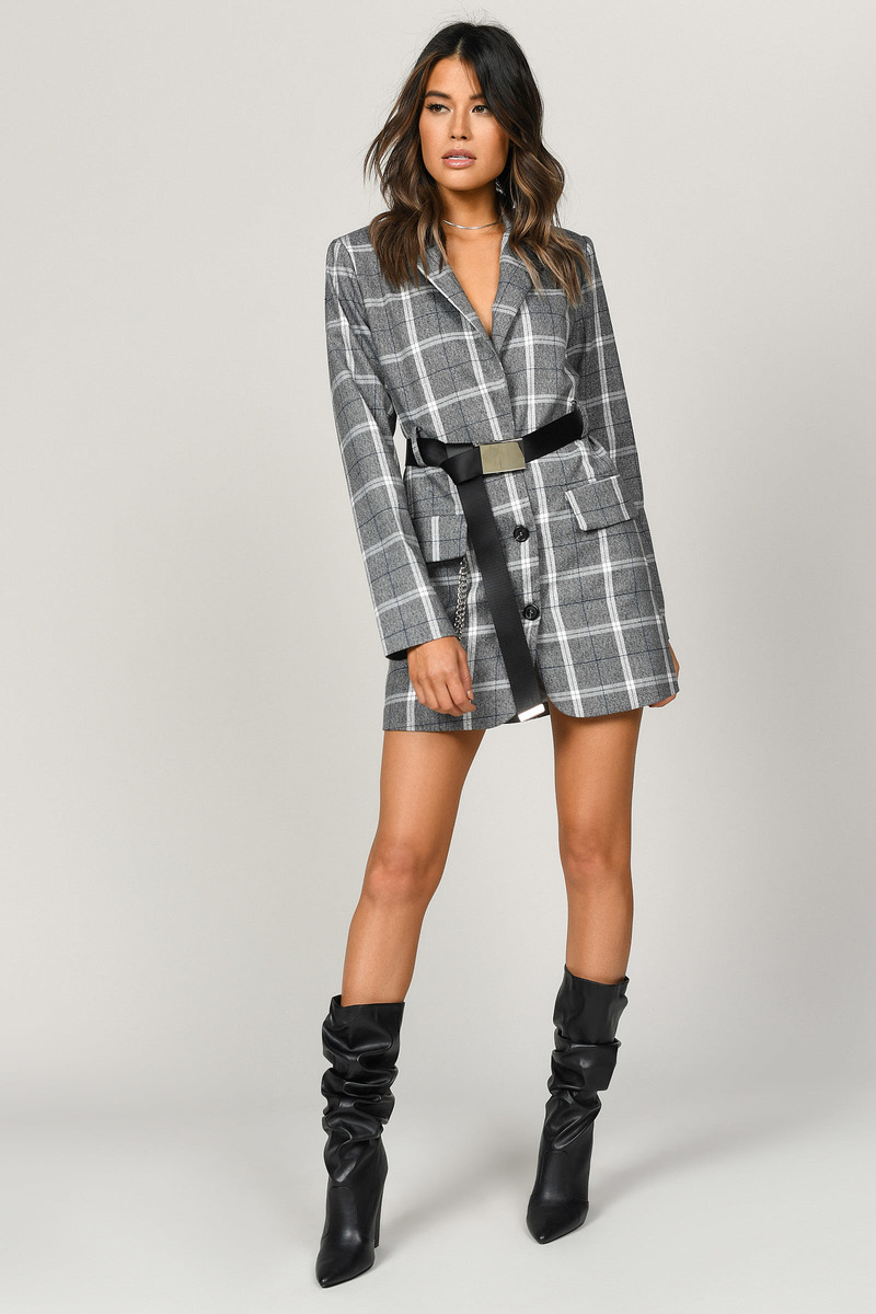 9efd9d21ea8d Grey Blazer Dress - Belted Dress - Grey Plaid Utility Dress - C$ 58 ...
