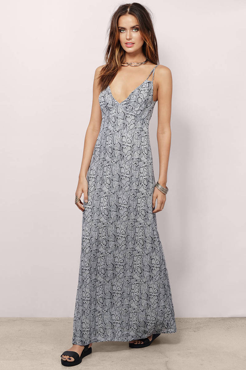 Izidora Grey Multi Snakeskin Maxi Dress