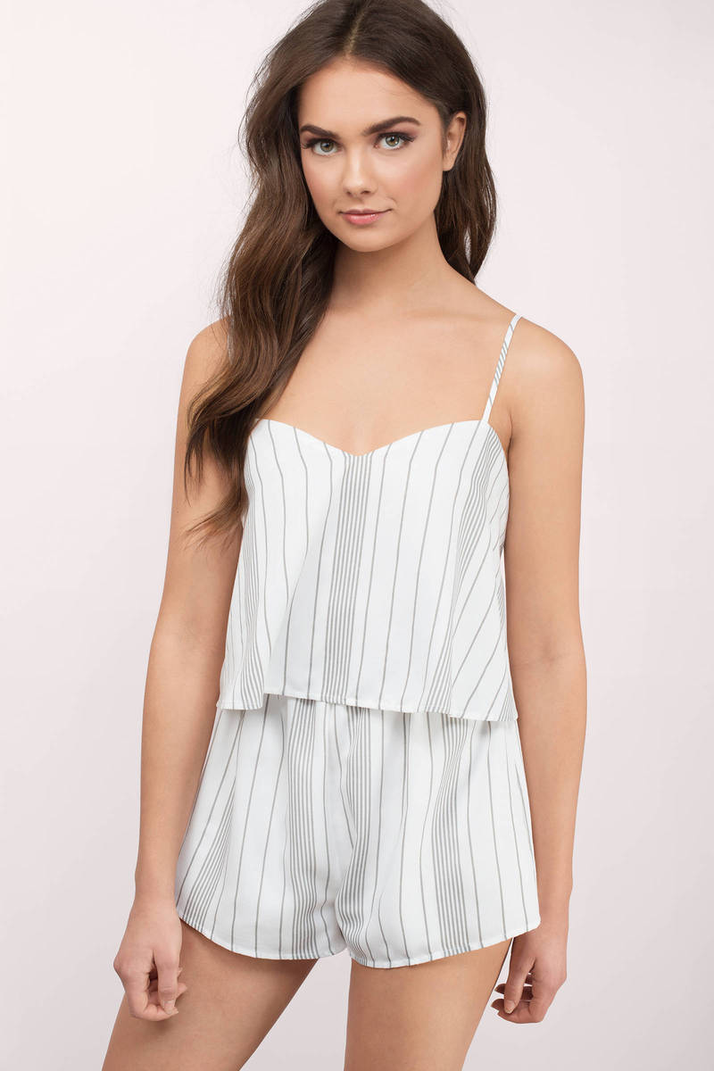Mina Grey Multi Striped Romper