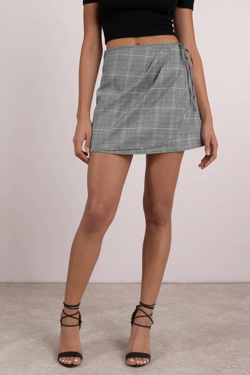 e3e3f8e0ef Grey Skirt - Office Plaid Skirt - Grey Wrap Skirt - $15 | Tobi US