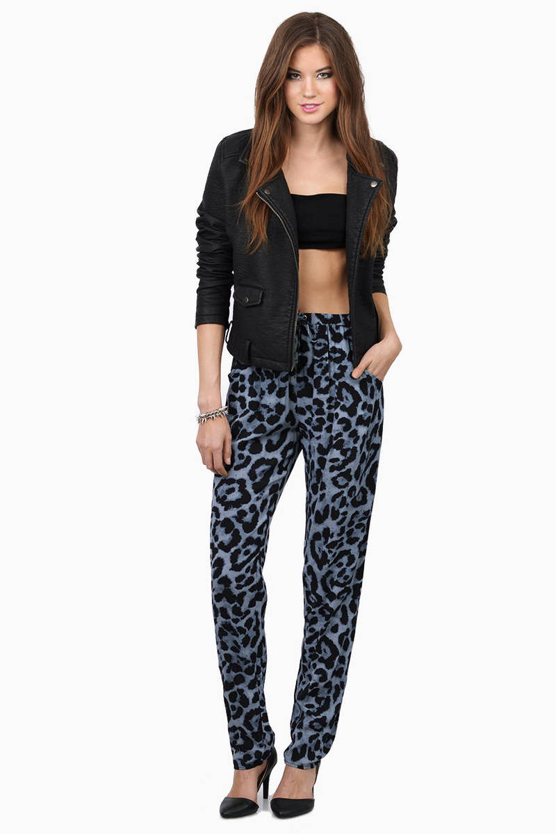 Show Your Wild Side Grey Multi Leopard Print Pants