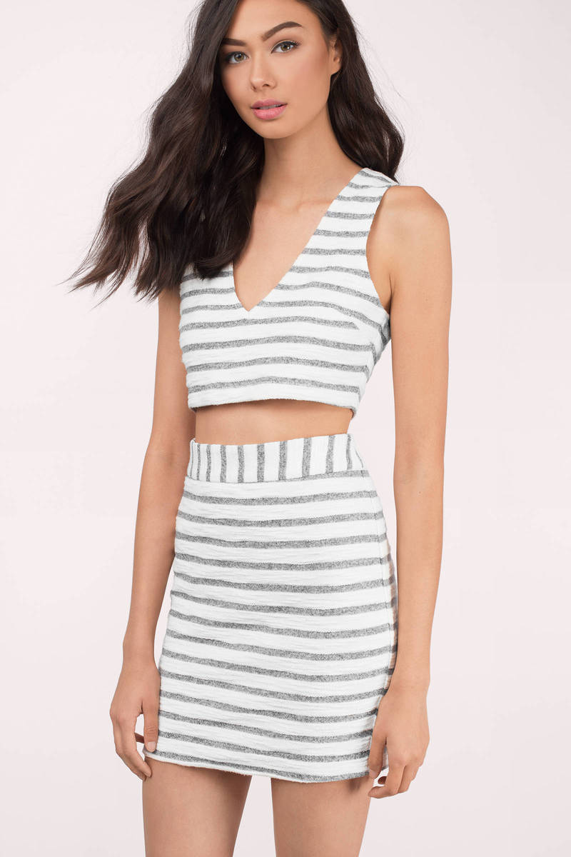 Venice Grey Multi Striped Bodycon Set