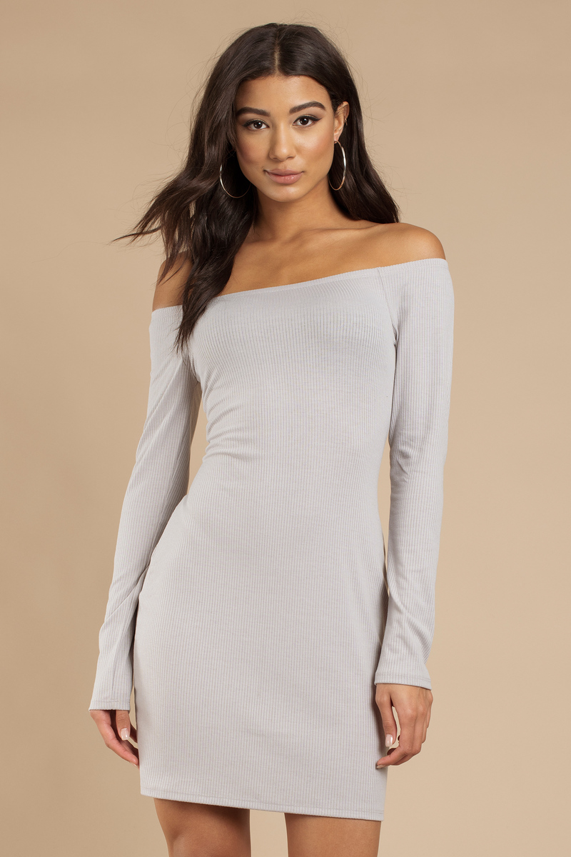 9a87edd5fe Cute Grey Bodycon Dress - Off Shoulder Dress - Bodycon Dress -  12 ...