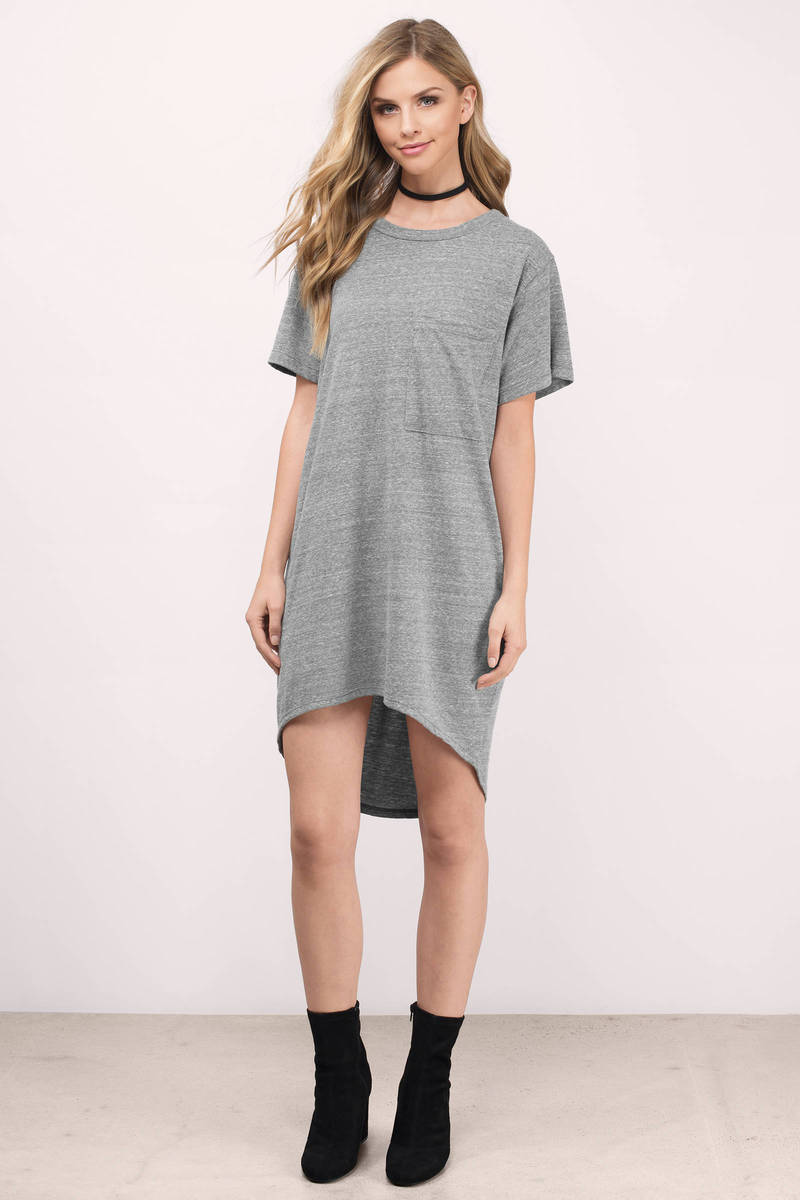 Olivia Grey Jersey Knitted Pocket Tee Dress