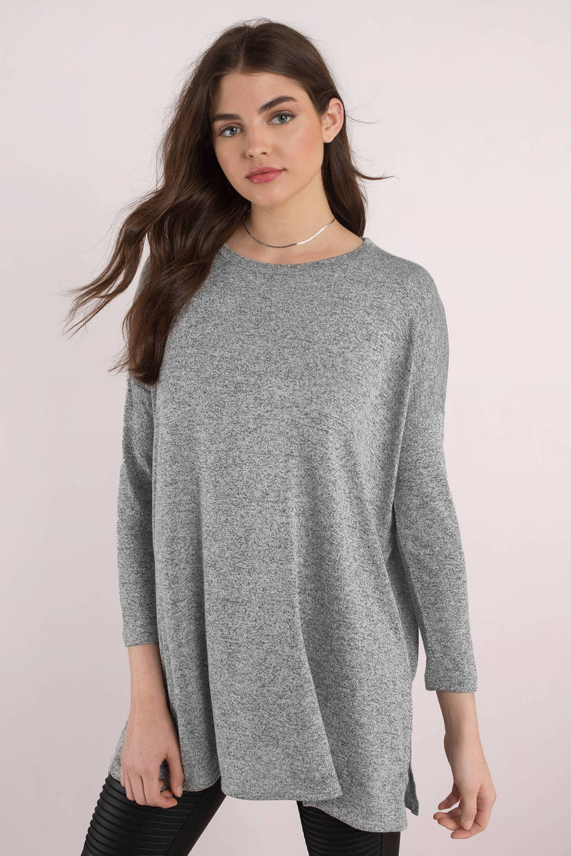 364e6263 Grey Top - Oversized Top - Long Sleeve Grey Top - Lounge Top - $17 ...