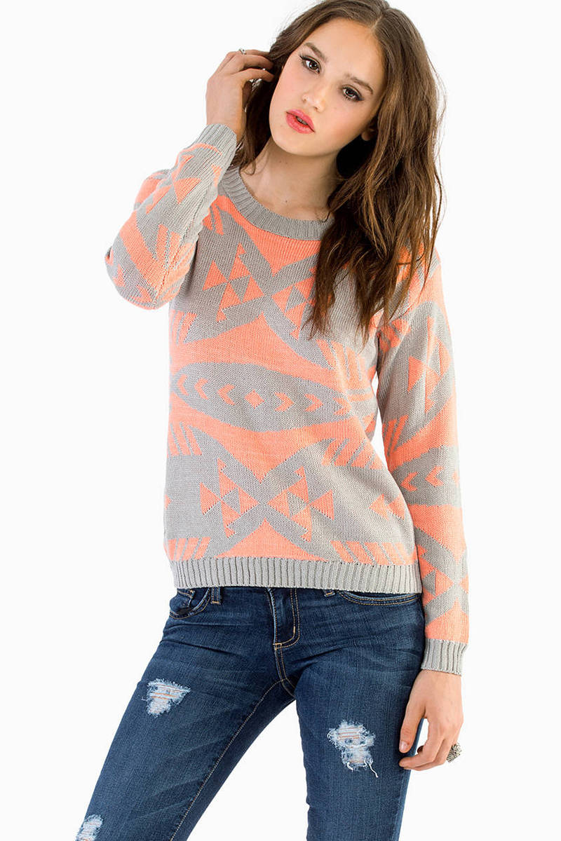 Scaling Grey & Peach Aztec Print Sweater