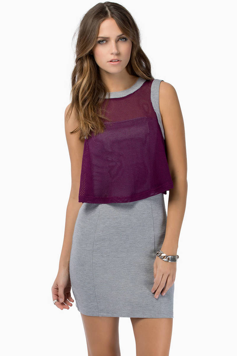 One Heart Grey & Plum Sheer Overlay Tank Bodycon Dress