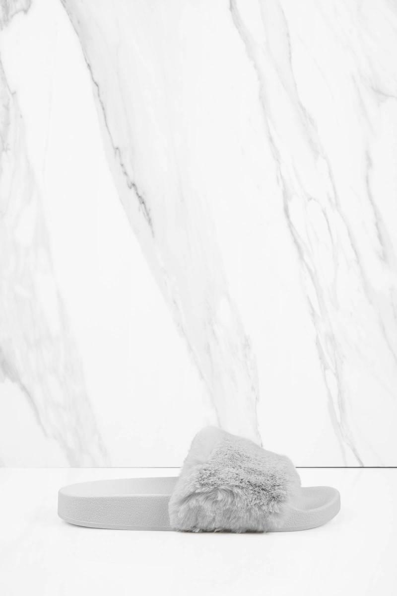 Rebel Grey Faux Fur Slides