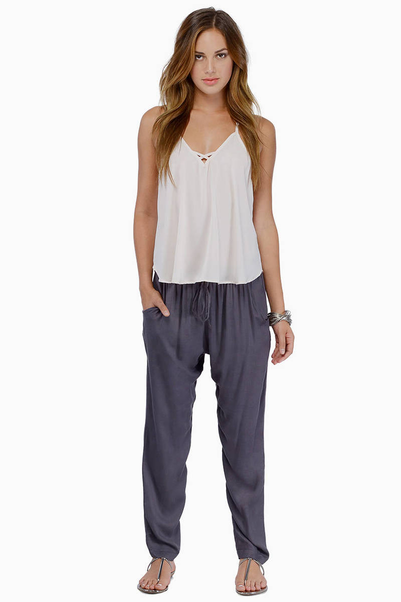 Relax In Style Grey Elastic Waist Drawstring Pants