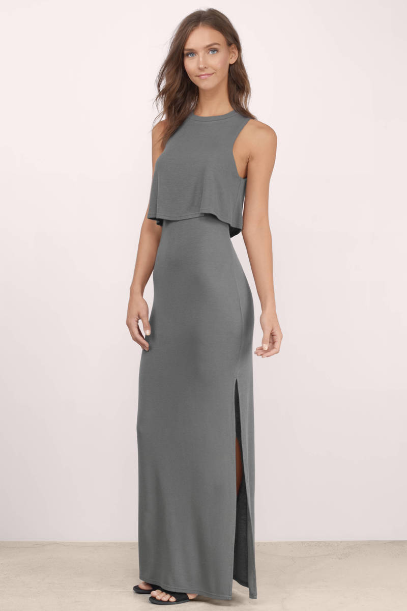 Rivera Grey Ribbed Maxi Dress