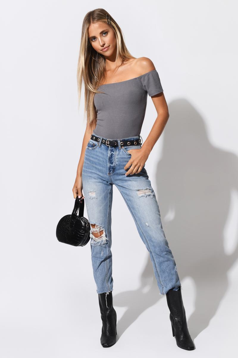 851062434594 Cute Grey Bodysuit - Off Shoulder Bodysuit - Grey Bodysuit - $14 ...