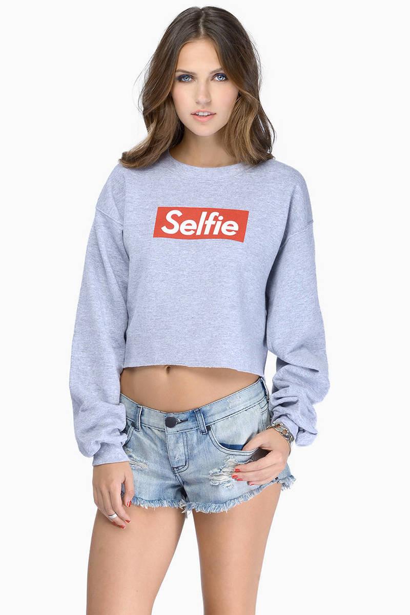 Petals & Peacocks Selfie Crop Sweatershirt