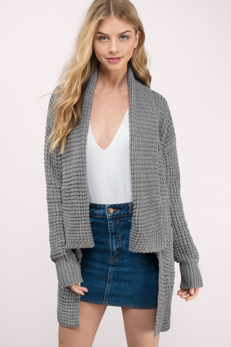 Trendy Grey Cardigan - Knitted Cardigan