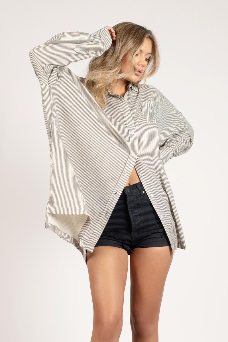 2b038e3cd93 Grey Shirt - Oversized Tunic Top - Grey Striped Button Down Shirt ...