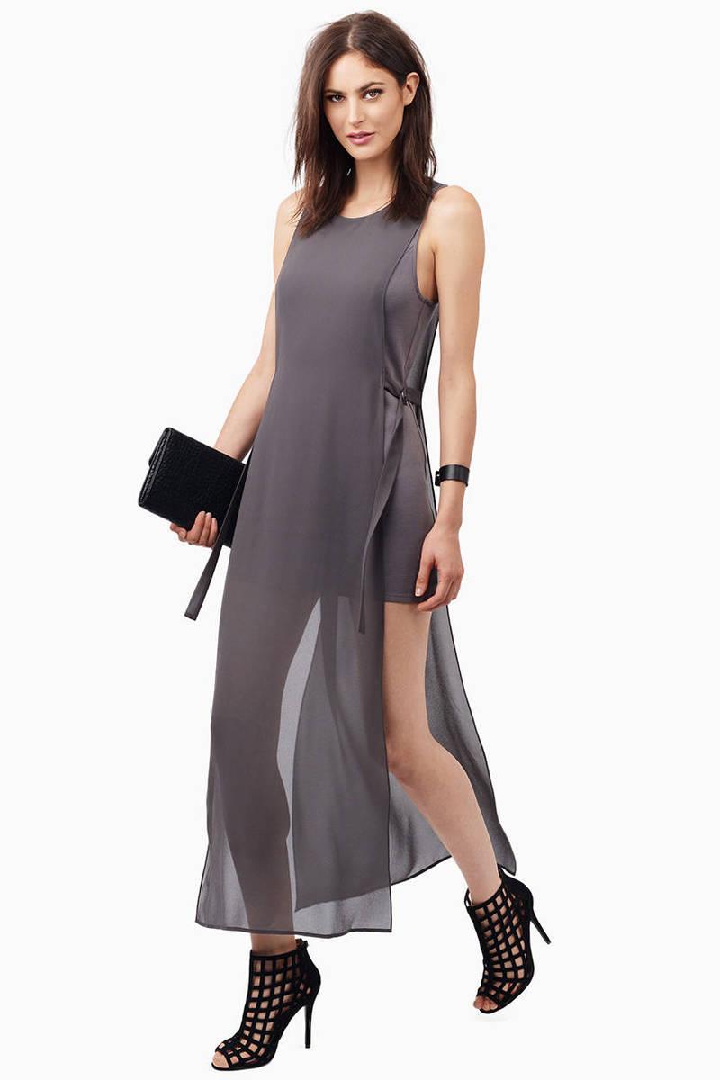 Show Me More Grey Maxi Dress