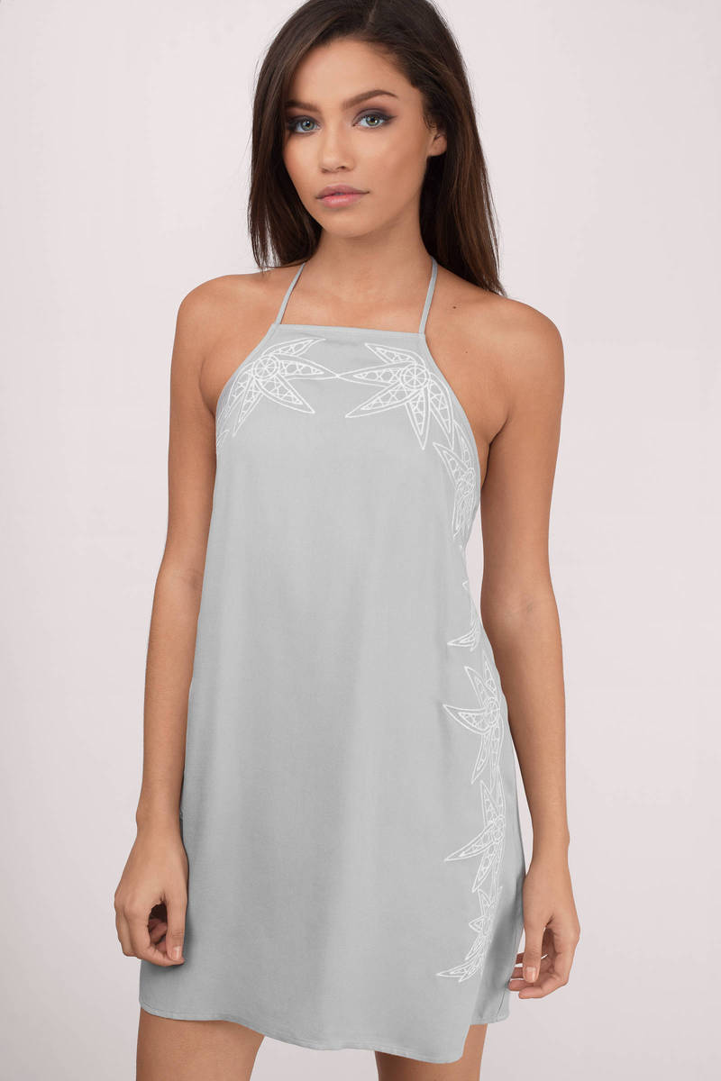 Sidelines Grey Embroidery Shift Dress