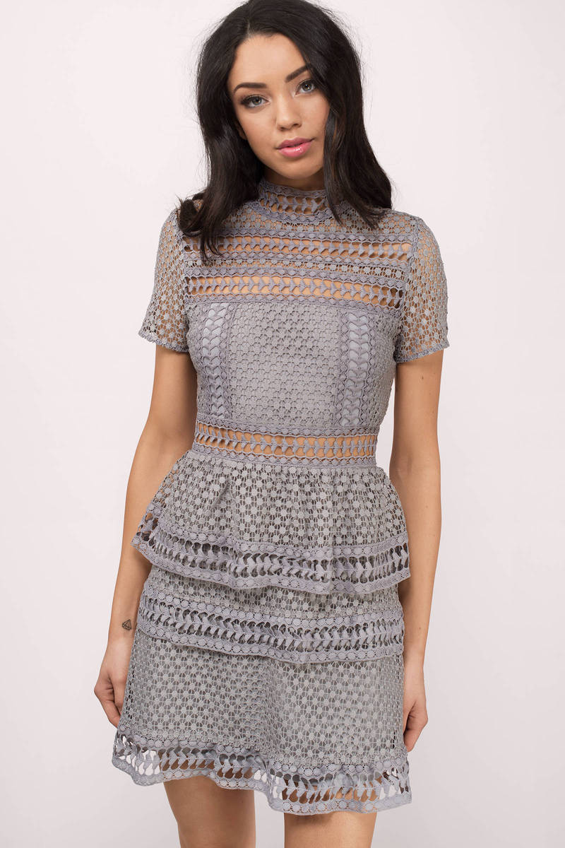 Trendy Grey Day Dress Short Sleeve Dress Day Dress