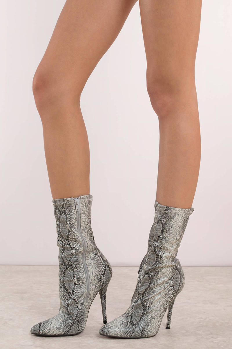 bf644e9809d Grey Boots - Pointy Snakeskin Boots - Grey Stiletto Heeled Boots - C ...
