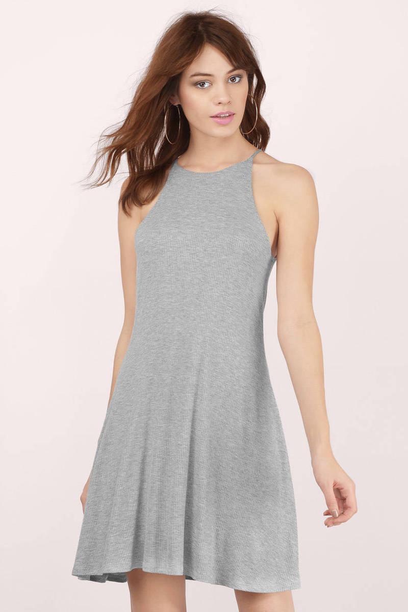 Soho Grey Heather Ribbed Shift Dress