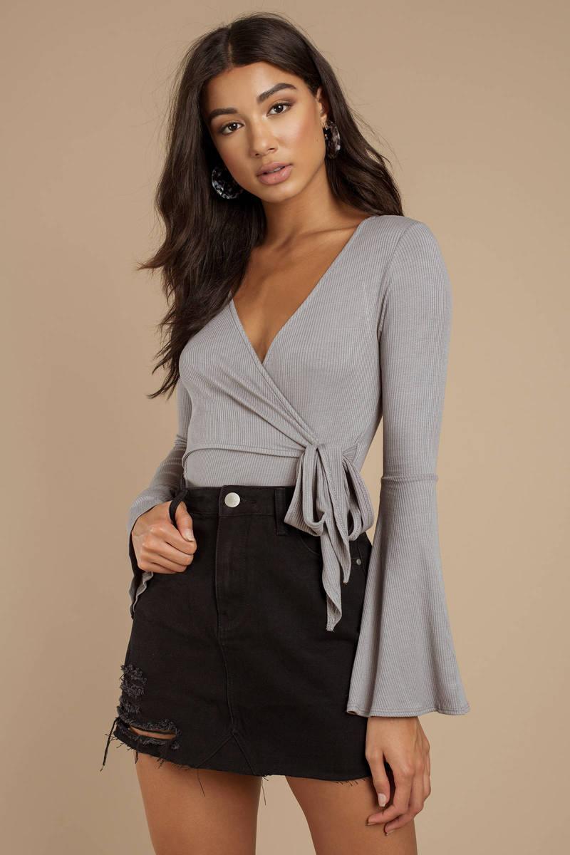 07ff5da5be Grey Bodysuit - Long Sleeve V Neck Bodysuit - Grey Wrap Bodysuit ...