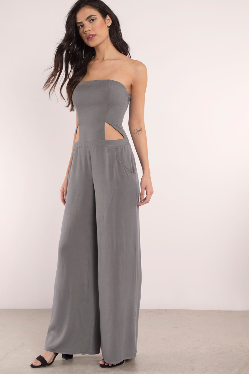 Stop At Nothing Grey Jumpsuit