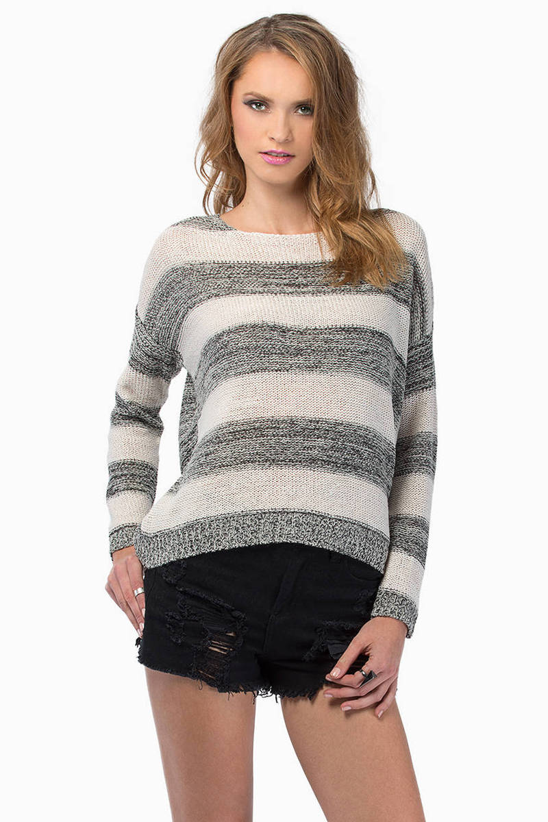 Straight To The Point Grey Striped Knitted Sweater
