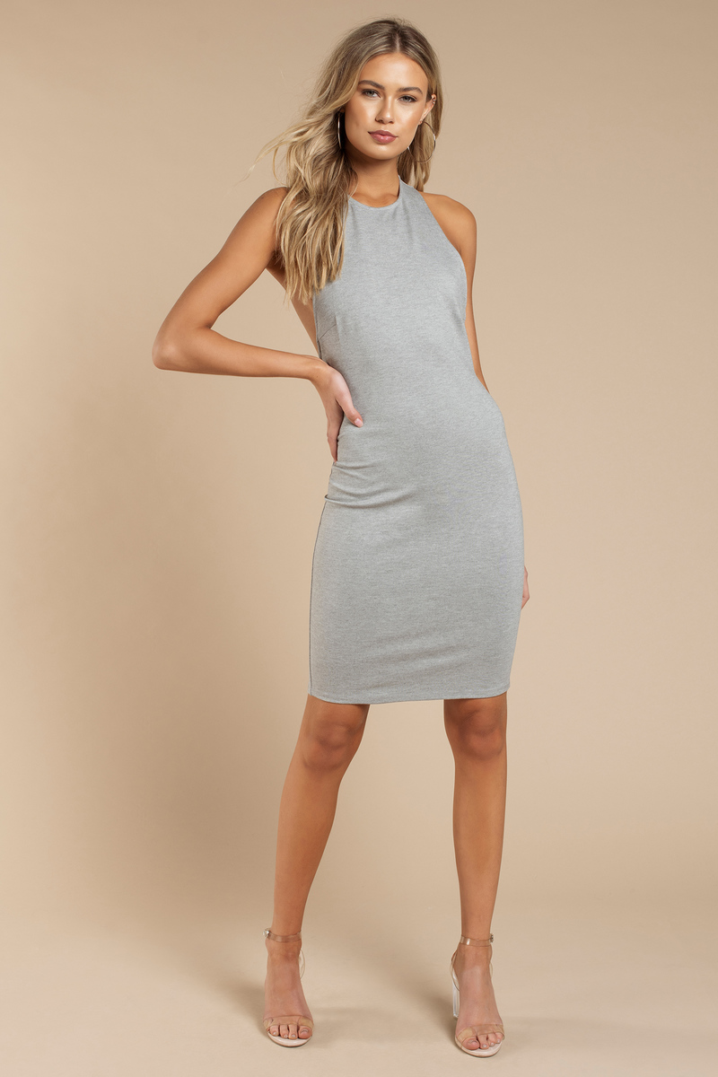 e766f79c0d93 Grey Dress - Backless Dress - Halter Dress - Sleeveless Midi Dress ...