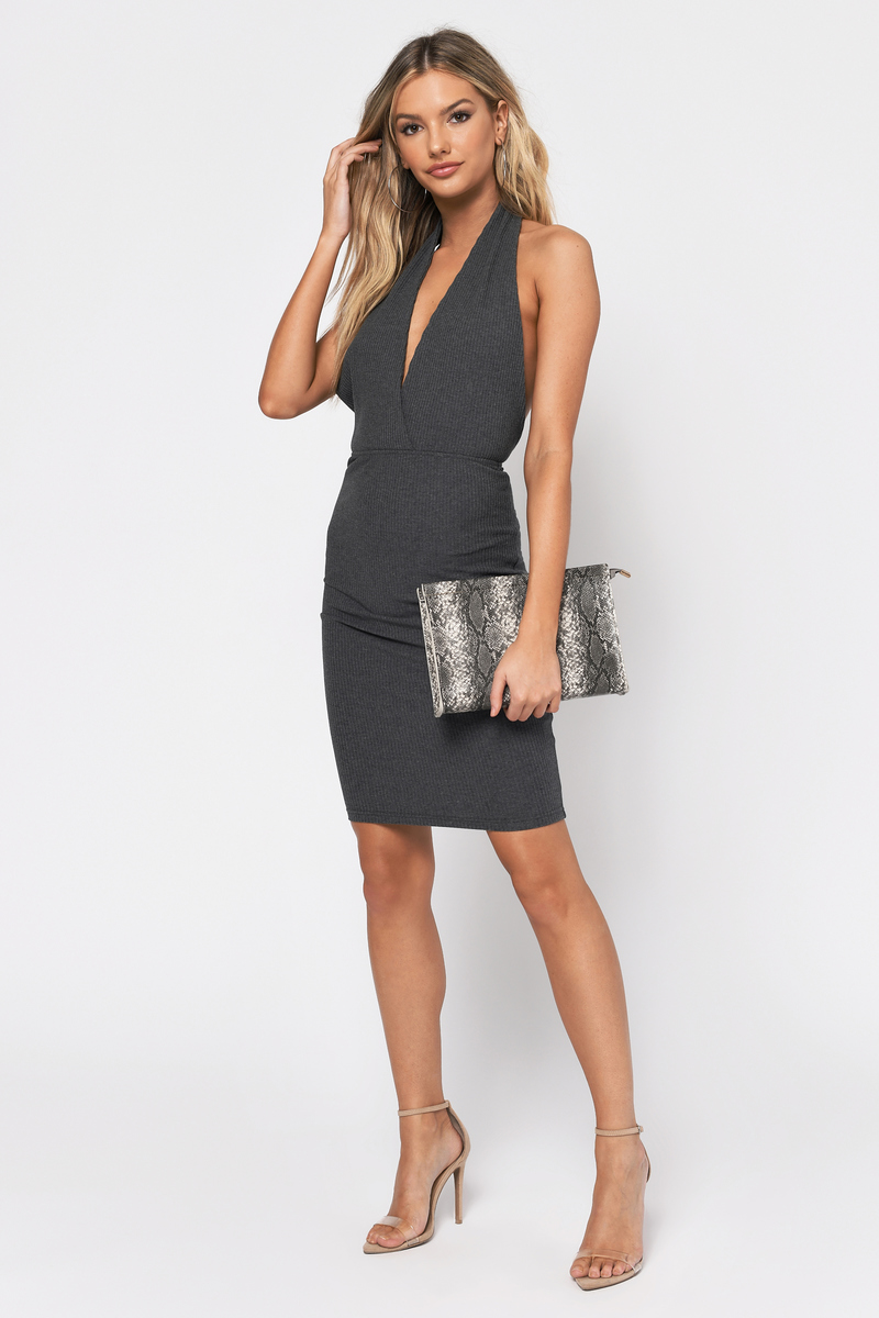 Take Sides Grey Bodycon Dress