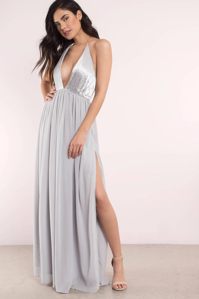 Cute grey dress deep v dress heavenly dress maxi for Gray dresses to wear to a wedding
