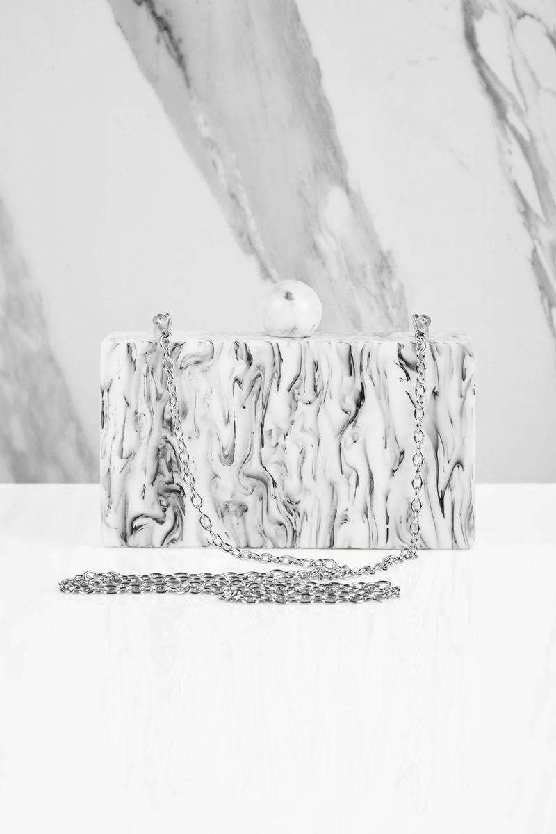 Valyn Grey Marbled Hard Case Clutch