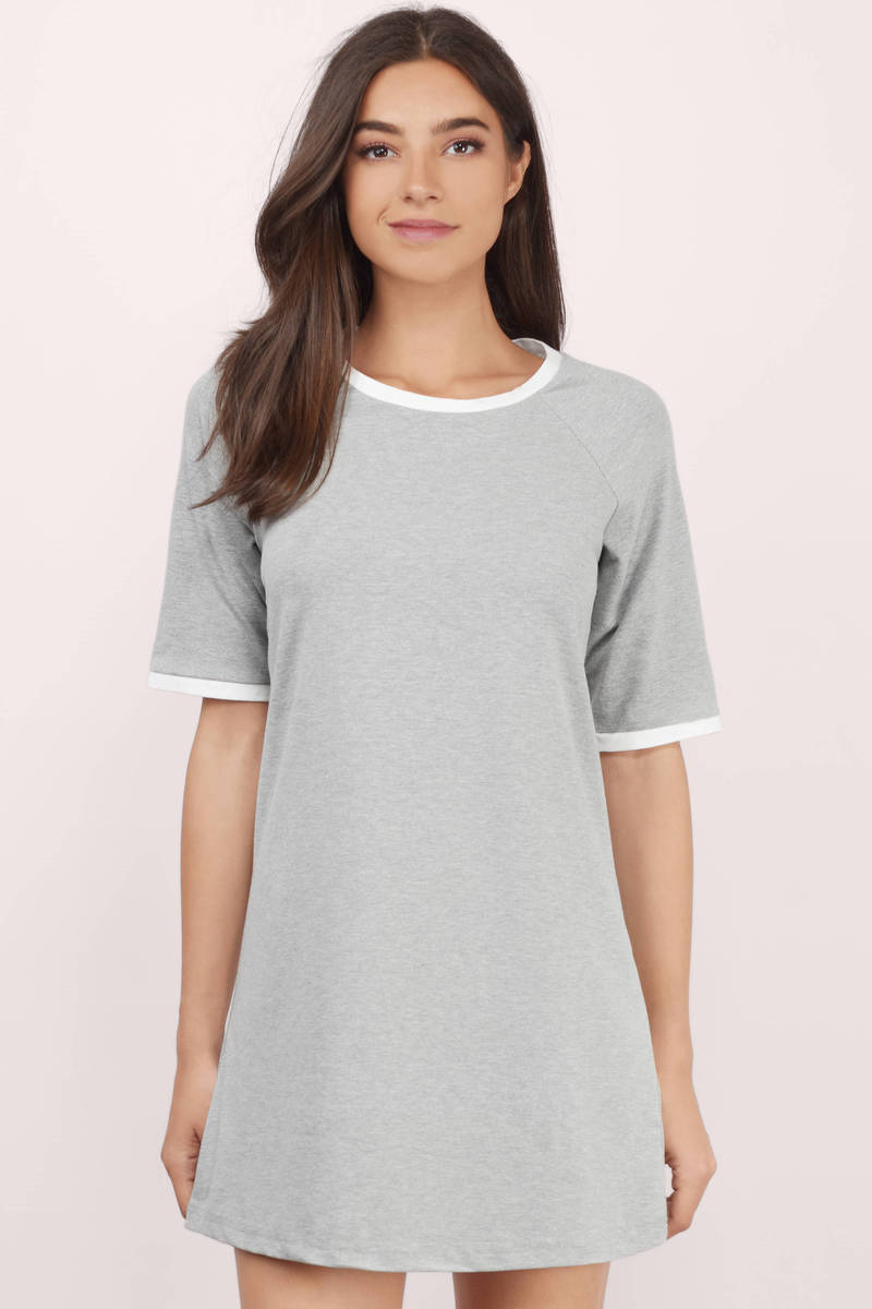 Black white grey color block dress