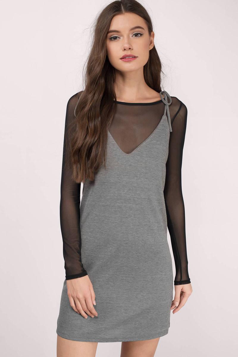 Yana Grey Ribbed Shift Dress