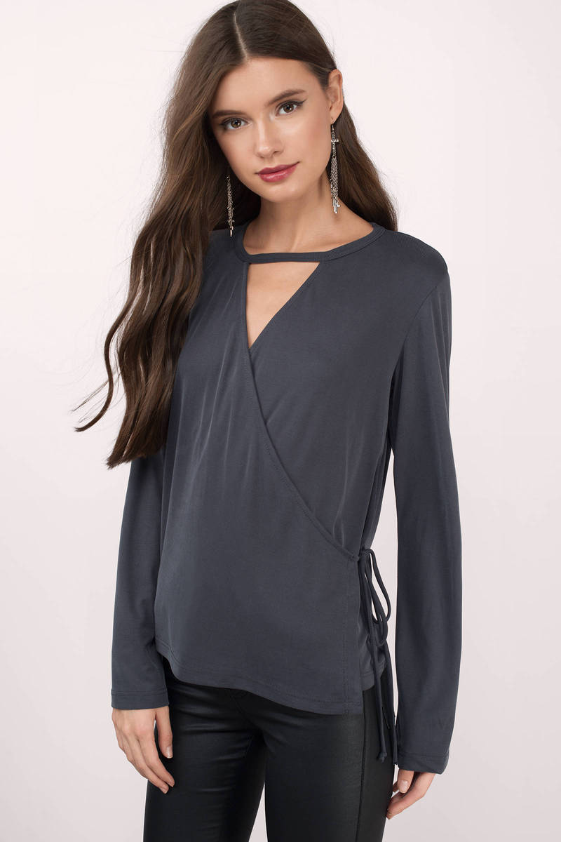 Zali Grey Ribbed Blouse