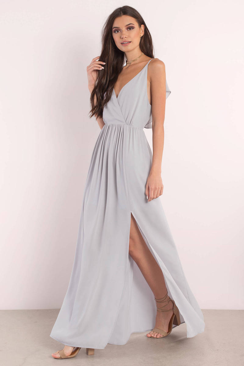 05673d449e69 Cute Grey Dress - Plunging Dress - Grey Elegant Dress - Maxi Dress ...