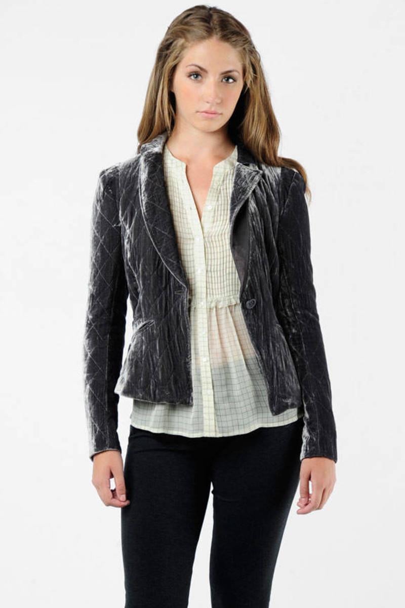 bd514e9f232b99 Grey Rebecca Taylor Blazer - Sleek Velvet Blazer - Grey Quilted ...
