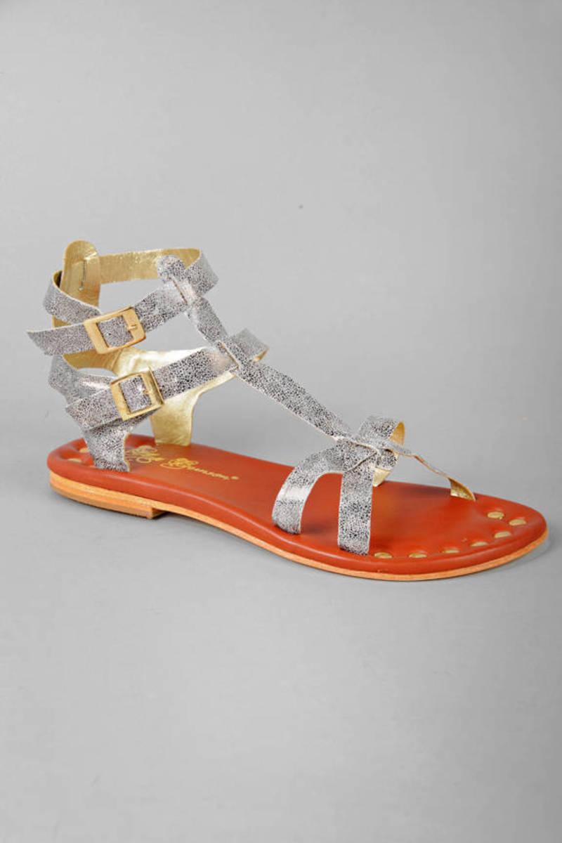 d32bb8572f1 Silver Matt Bernson Sandals - Gladiator Sandals - Silver Leather ...