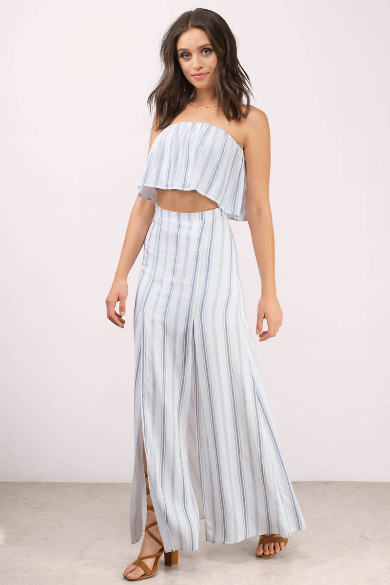 Cute Hartford Stripe Skirts - Slit Skirts - White Skirts - $158.00