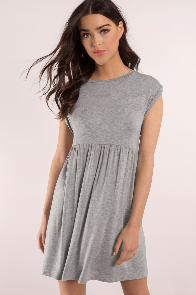 Cute Heather Grey Dress - Heather Grey Dress - Babydoll Mini Dress ... 6fa00b8d5