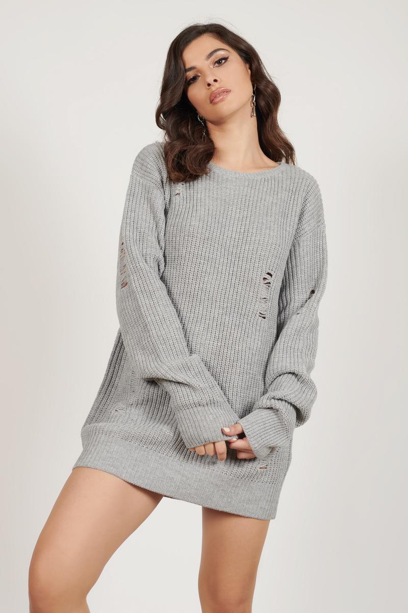 Cute Heather Grey Dress - Distressed Dress - Long Sleeve Dress ...