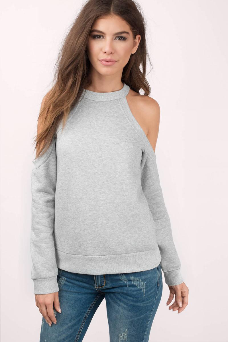 Heather Grey Sweater - Cold Shoulder Sweater - Heather Grey Hoodie ...