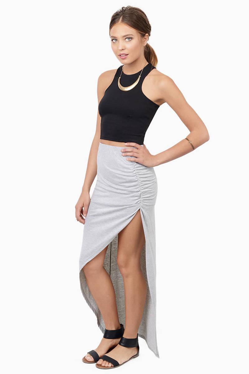 Hannah Heather Grey Maxi Skirt