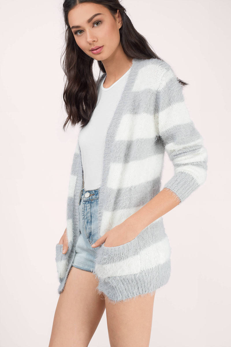 Furry Up Heather Grey & Ivory Striped Cardigan