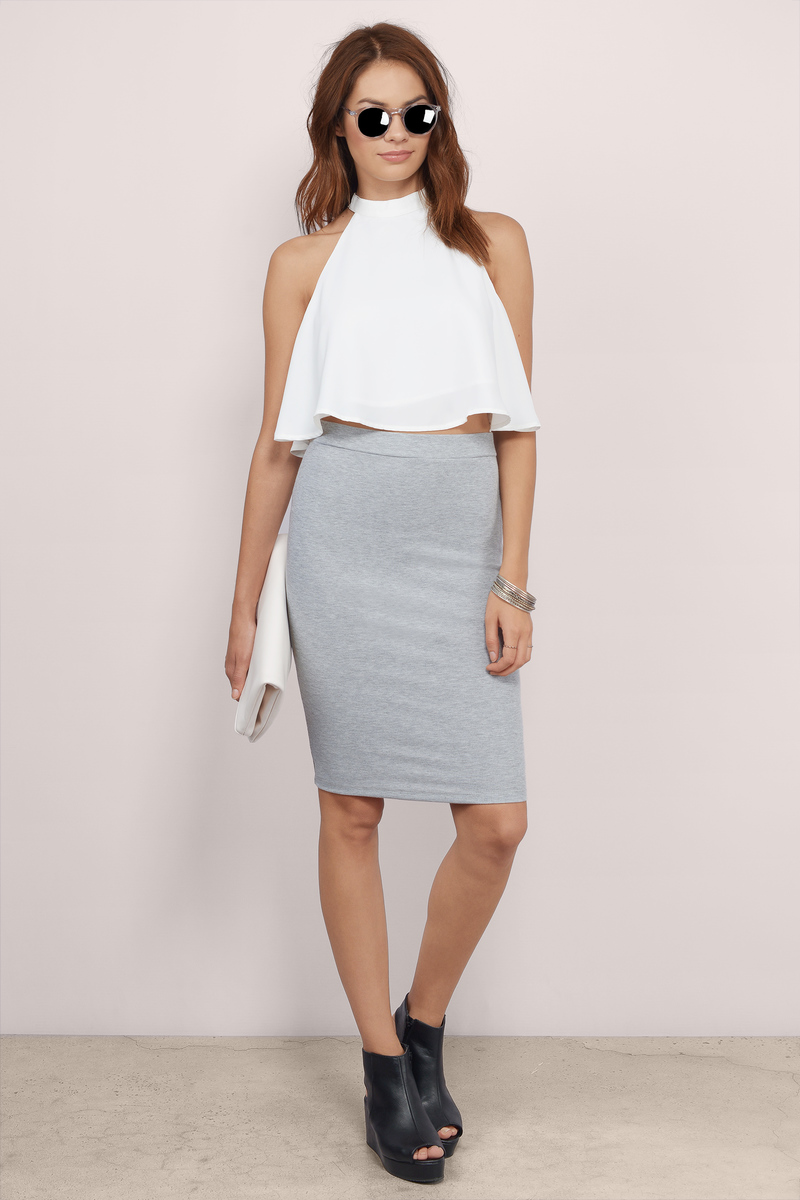 cd92e5ca8 Cute Grey Skirt - Grey Skirt - Ribbed Skirt - Heather Grey Skirt ...