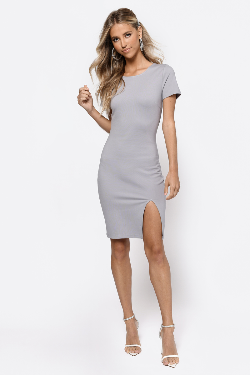 7f3fff43a976 Heather Grey Bodycon Dress - Side Slit Dress - Heather Grey Dress ...