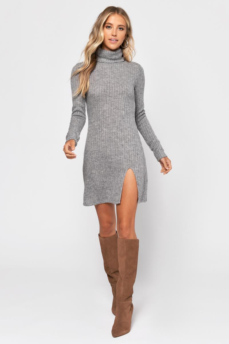 b5eb0d957918 Grey Dress - Long Sleeve Turtleneck Dress - Grey Slit Dress - C$ 44 ...