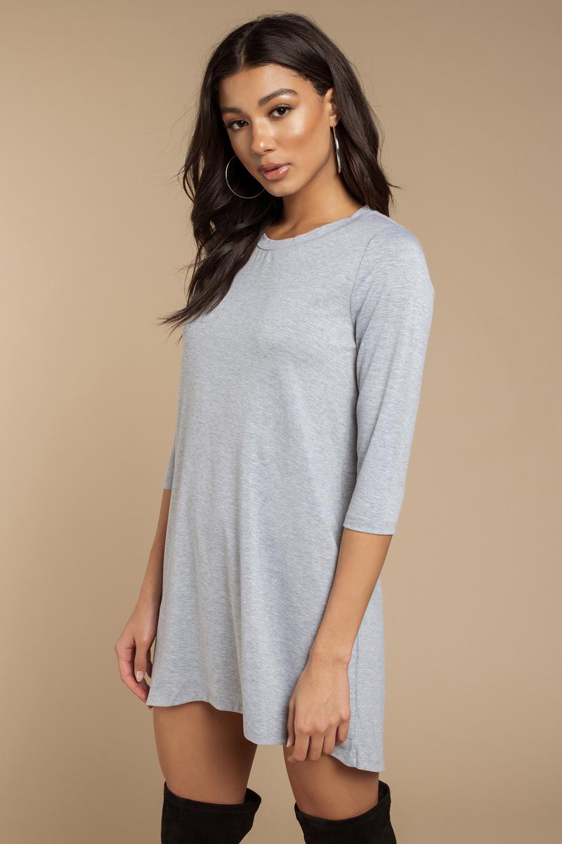 6501cf1f9e4 Heather Grey Shirt Dress - Long Sleeve Dress - Long Dress Shirt ...